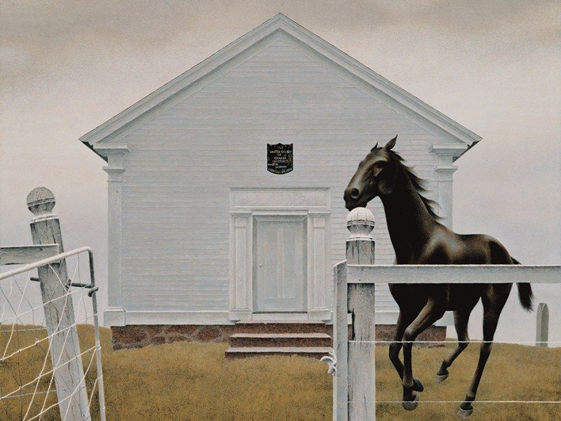 Alex Colville Church and Horse, 1964 acrylic on Masonite, 55.5 x 68.7 cm Montreal Museum of Fine Arts, purchase, Horsley and Annie Townsend Bequest and anonymous donor © A.C. Fine Art Inc. Photo © AGO
