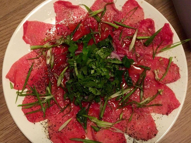 Sen's carpaccio. Photo: Anne DesBrisday