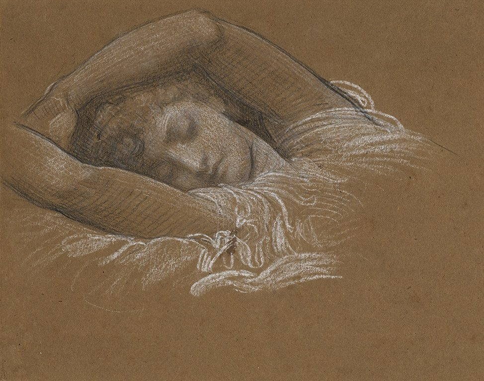 "Frederic Leighton. Study of Iphigenia for ""Cymon and Iphigenia"", 1883, black and white chalk on paper, 21.9 × 29.4 cm. Promised Gift from the Lanigan Collection. Photo © NGC"