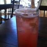 Refreshing rhubarb spritzer at Back Lane Cafe