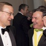 John Geddes, Ottawa Bureau Editor for Maclean's, shared a laugh with Jim Flaherty, Minister of Finance.