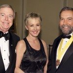 (L to R) Broadcasters Don Newman and Wendy Mesley with Leader of the Official Opposition Thomas Mulcair.