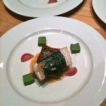 Black bass, seared and steamed, with ramp royale and radishes