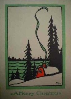 A.Y. JACKSON (1882-1974), Christmas Greetings / Vœux de Noël, Canadian Artists Series, Rous & Mann, Ltd., c. 1923-1928, stencil process prints, Library and Archives Canada, Naomi Jackson Groves fonds / « Canadian Artists Series » de Rous & Mann, Ltd., v. 1923-1928, impression au pochoir, Bibliothèque et Archives Canada, fonds d'archives de Naomi Jackson Groves, R7316-14