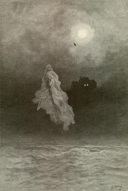 Title: Gustave Doré illustration to the 1884 edition of Edgar Allan Poe's The Raven: Get the Back into the Tempest