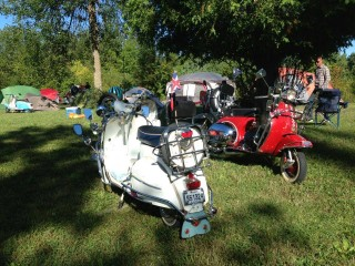 Patrick Foisy's Vespa, at left, and Garry Armitage's ride at right. Mod cred!