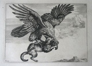 Battle between the Eagle & Cat is part of the Beasts show at CUAG.