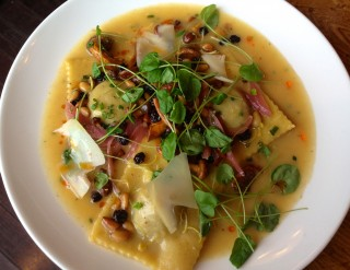 Chestnut stuffed ravioli with .  Photo by Anne DesBrisay.