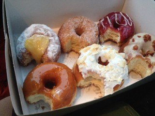A six-pack of SuzyQ Donuts last, taste-tested and photographed by  Anne DesBrisay.