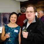 Ottawa Mag editor Dayanti Karunaratne raises a glass with contributing editor Mark Bourrie. Photo by Matt Zambonin.