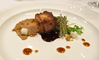 Marysol Foucault's final plate was a reprise of her delicious pork belly and rabbit pressé, with chestnut puree. Photo by Anne DesBrisay