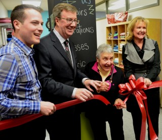 Special guests at the opening of the new space included, from left, councillor Matthieu Fleury, mayor Jim Watson, Lucile Champagne, EE founder, councillor Diane Deans.  The City of Ottawa is a major supporter of Community Economic Development and helped fund the boutique's renovation and launch last month.