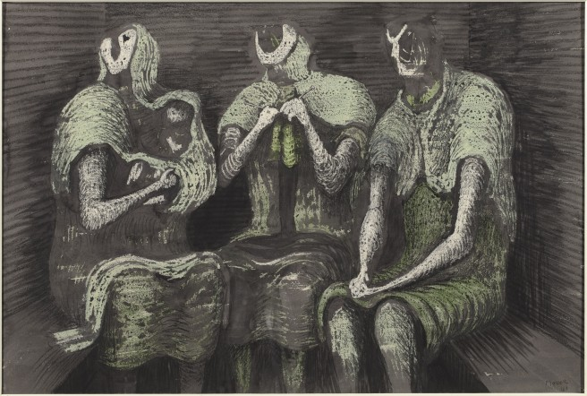 Henry Moore Group of Shelterers during an Air Raid 1941 mixed media on wove paper 38.3 x 55.5 cm Art Gallery of Ontario, Toronto © The Henry Moore Foundation. All Rights Reserved, DACS / SODRAC (2013) www.henry-moore.org