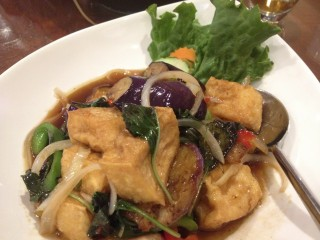 Tofu and eggplant stirfry. Photo by Anne DesBrisay.