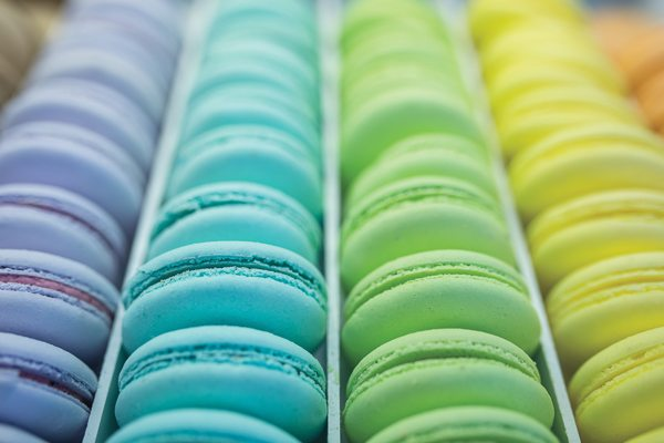 Rainbow of macarons made by La Toque Photo by Justin Van Leeuwen