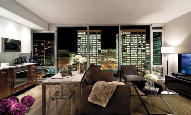 This one-bedroom suite features a breathtaking view of the city