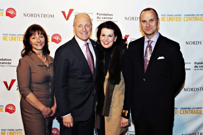 Linda Eagen of the Ottawa Regional Cancer Foundation,  U.S. Ambassador to Canada Bruce Heyman and Mrs. Vicki Heyman, and Ottawa store manager John Banks. Photo by Valerie Keeler, Valberg Imaging