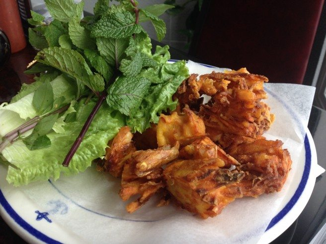 Sweet potato and shrimp fritters. Photo by Anne DesBrisay