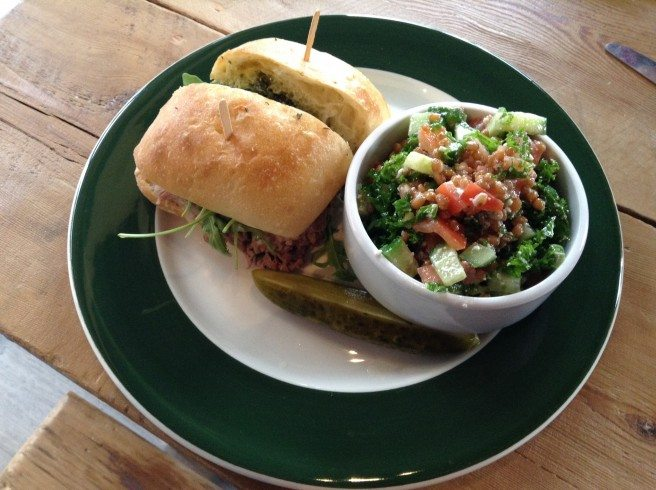 Meat in the Middle pork sandwich with wheat berry salad. Photo by Anne DesBrisay.