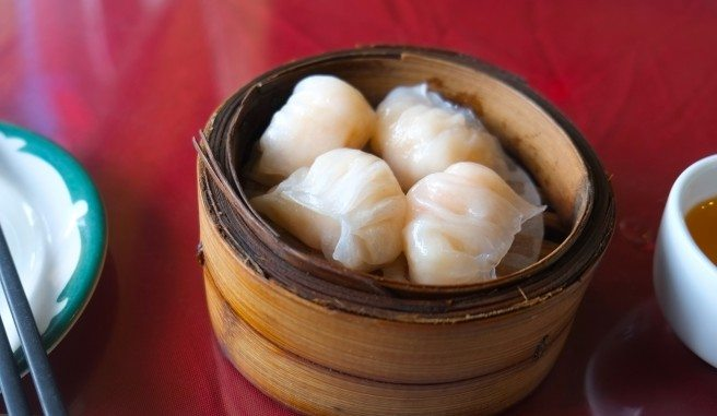Shrimp har gow. Photo by Anne DesBrisay