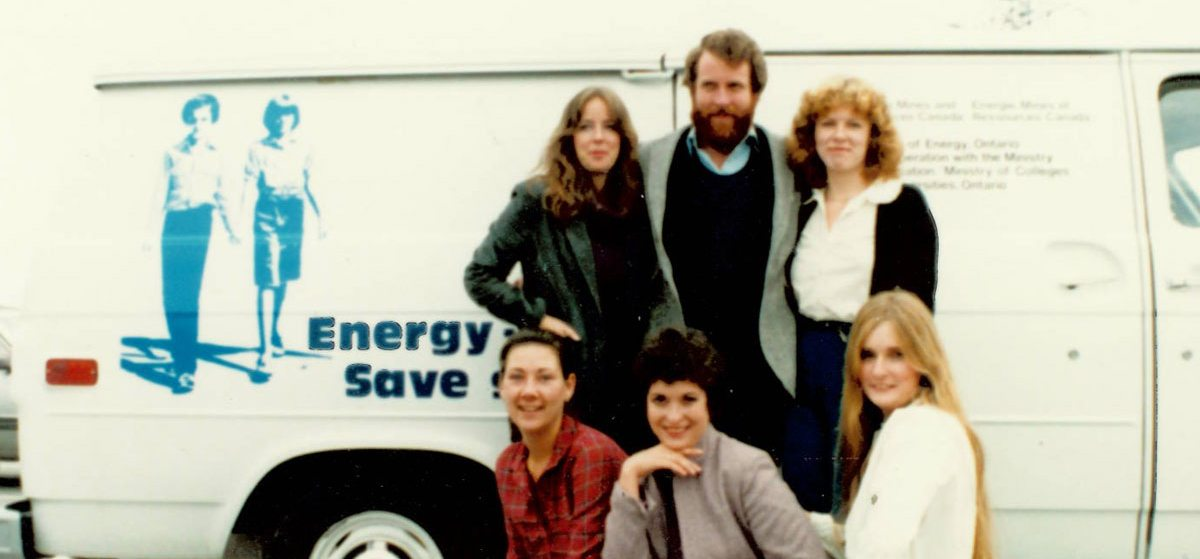 Teachers in front of the Energy Van, mid-1980s, which visited a school where Justin Trudeau was being taught by grade 6 teacher (at the time) Dianne Wing (centre bottom), now publisher of OTTAWA magazine