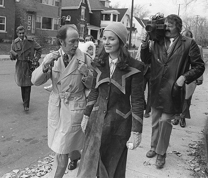Prime Minister Pierre Trudeau, with Justin on his back and wife Margaret at his side, head to the polling station to vote in the 1972 election. Photo by Rod MacIvor.
