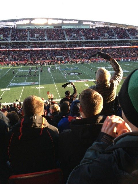 Redblacks fans react to a controversial decision by referees in the fourth quarter. Photo by Julia Wallace, OTTAWA Magazine.