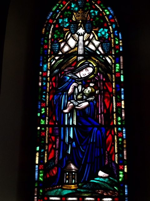 Stained glass window, St. James the Apostle church in Carp.