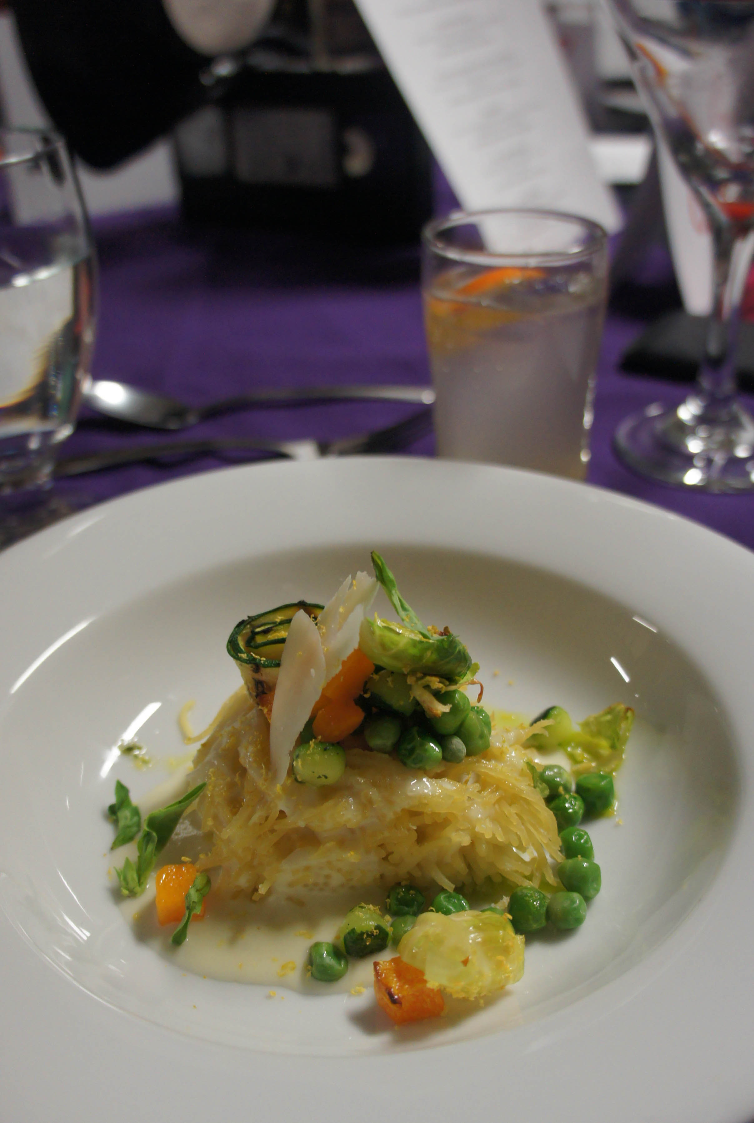 """Chef Marc Doiron captured the feel of 1970s cuisine with a """"pasta you can't refuse"""" — pasta primavera, parmesan foam and vegetables formato. Photo by Katie Shapiro, Ottawa Magazine."""