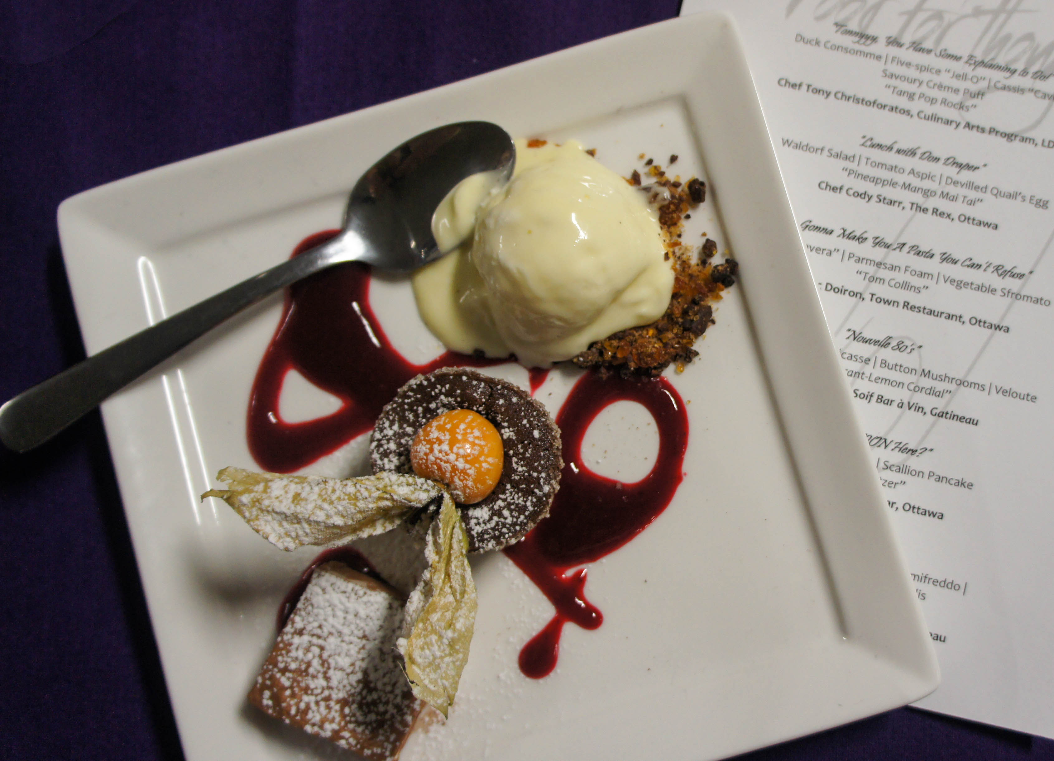 Chef Anna March revisited the 2000s with a death-by-chocolate molten lava cake. Photo by Katie Shapiro, Ottawa Magazine.