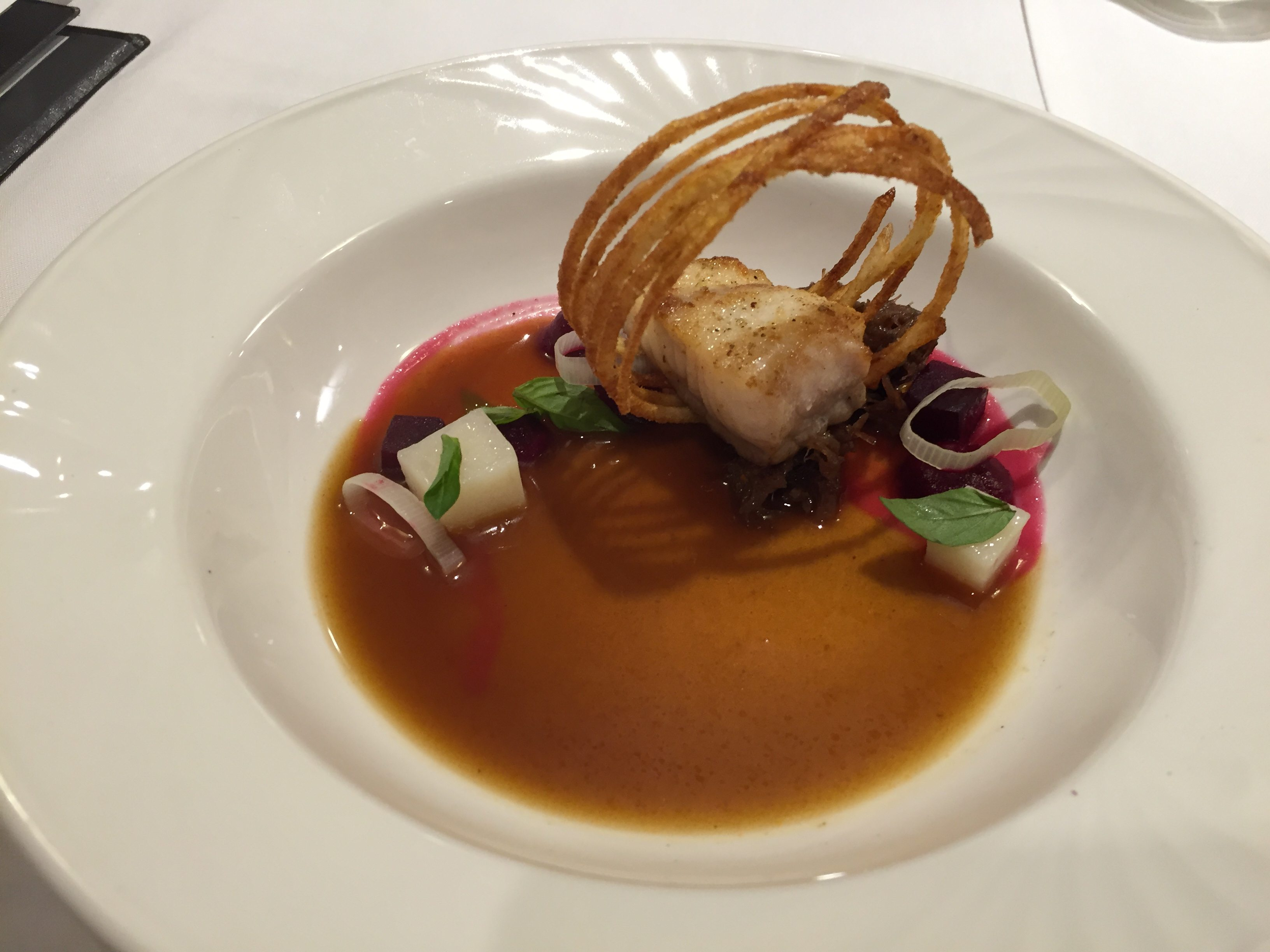 Chef Marc Lepine's dish for the mystery wine pairing. Photo by Anne DesBrisay, Ottawa Magazine.