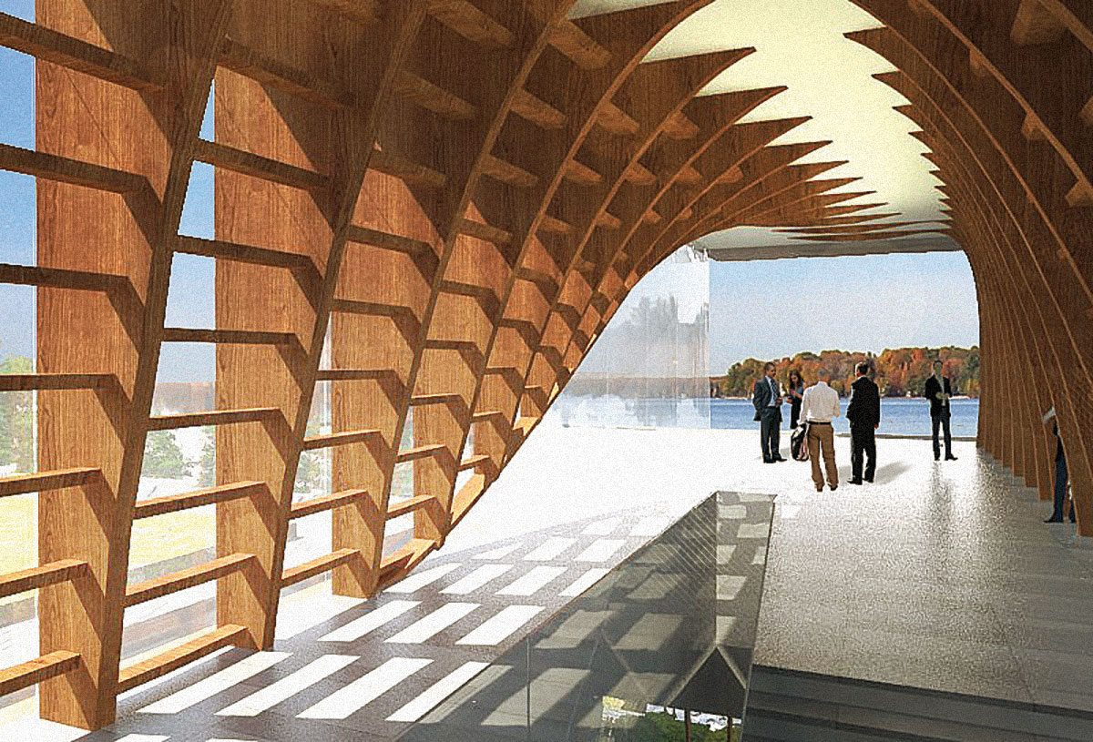 "A grand entrance hall of timber and glass projects over the Ottawa River. ""It will take your breath away,"" says Hobin."