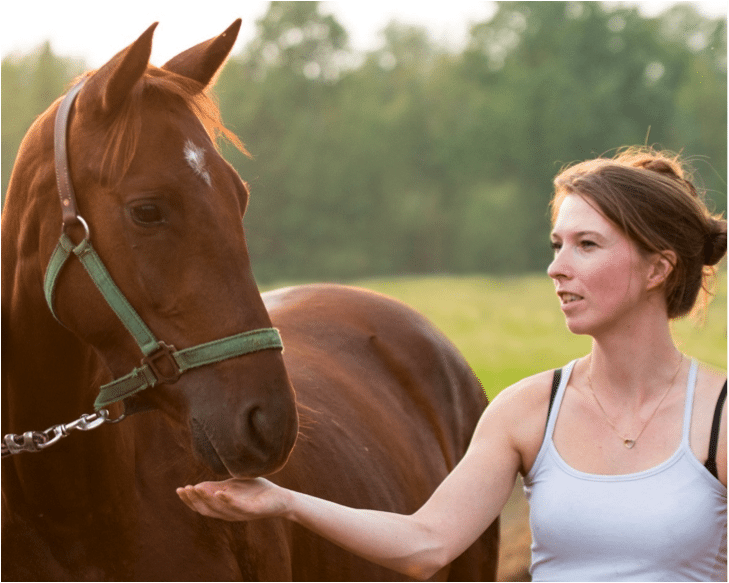 Volunteer Ashley with her horse Red, who found each other at Kindred Farm Rescue. Photo courtesy of Kindred Farm Rescue