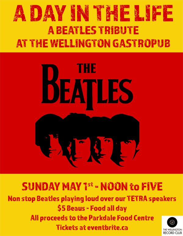 Poster for Beatles charity event at the Wellington Gastropub
