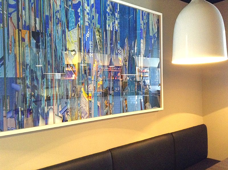 The decor revolves around three big pieces of artwork, including this huge work by Montreal artist Anne-Marie Dumouchel along one wall