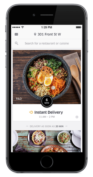 The UberEATS app lets users order food with their Uber account, and allows bill-splitting.