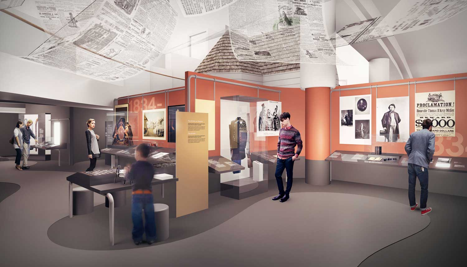 Rendering of the Colonial Canada gallery at the upcoming Canadian History Hall.