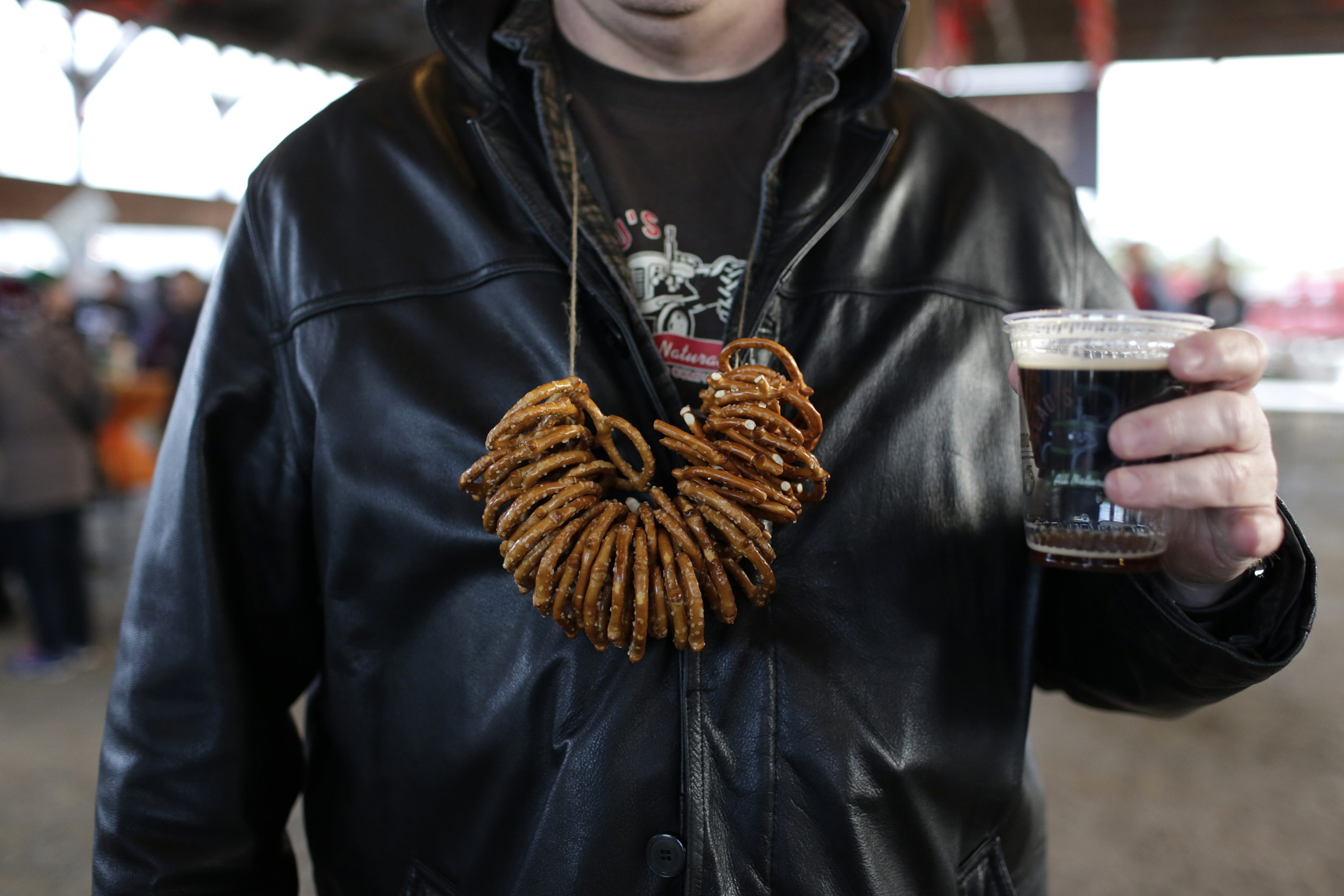 Pretzels on a string at Beau's Oktoberfest in Vankleek Hill, on Friday, Oct. 2, 2015. Photo by David Kawai for Ottawa Magazine