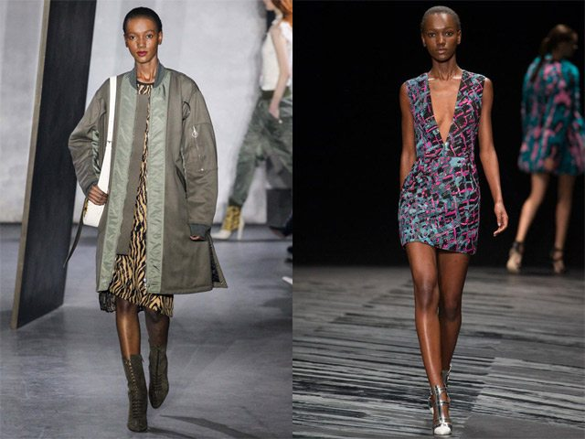 Herieth Paul walked in the Spring/Summer 2015 New York Fashion Week for Philip Lim (left) and show at New York Fashion Week (left) and J Mendel