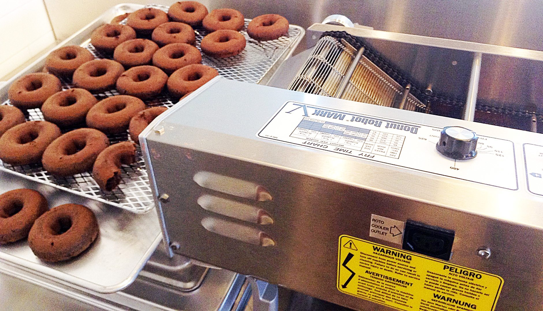 The doughnut machine, which visitors can watch working, can make up to 120 doughnuts a minute