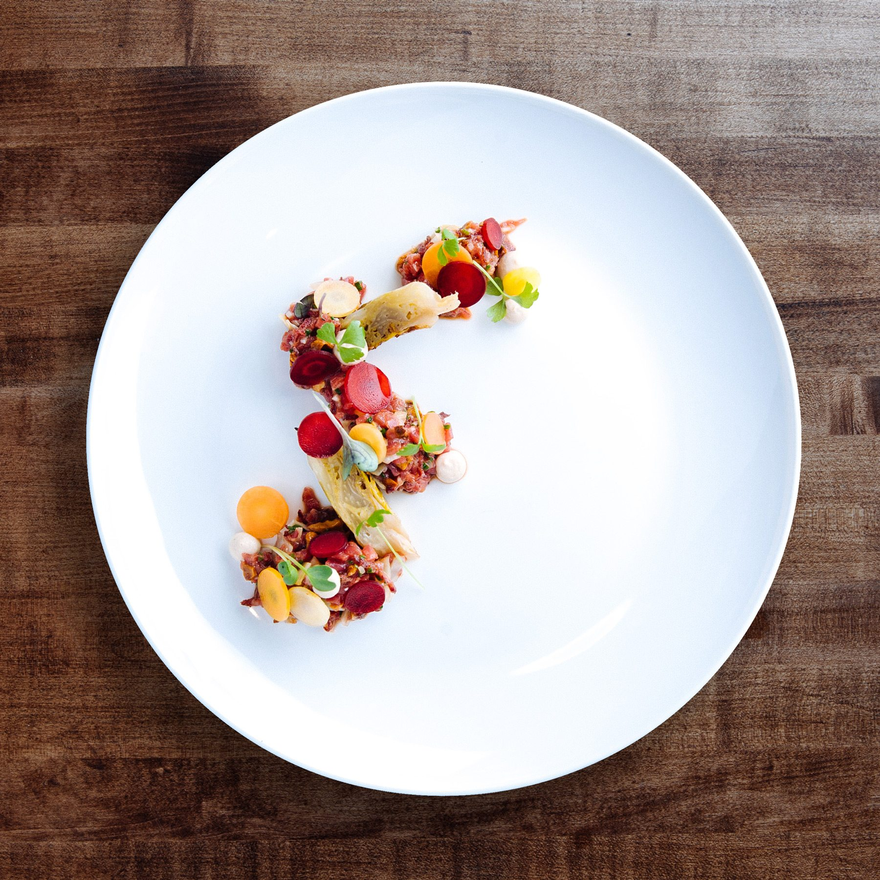 A beautifully plated beef tartare appetizer. Photo: Frazer Nagy of Transparent Kitchen
