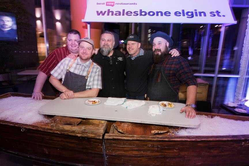 """Steve Mitton, centre, joins Chef Michael Radford (second from left) and the rest of the Whalesbone team. Mitton will be involved with catering, lunches, and almost everything else in a role he's calling """"chef tournant"""""""