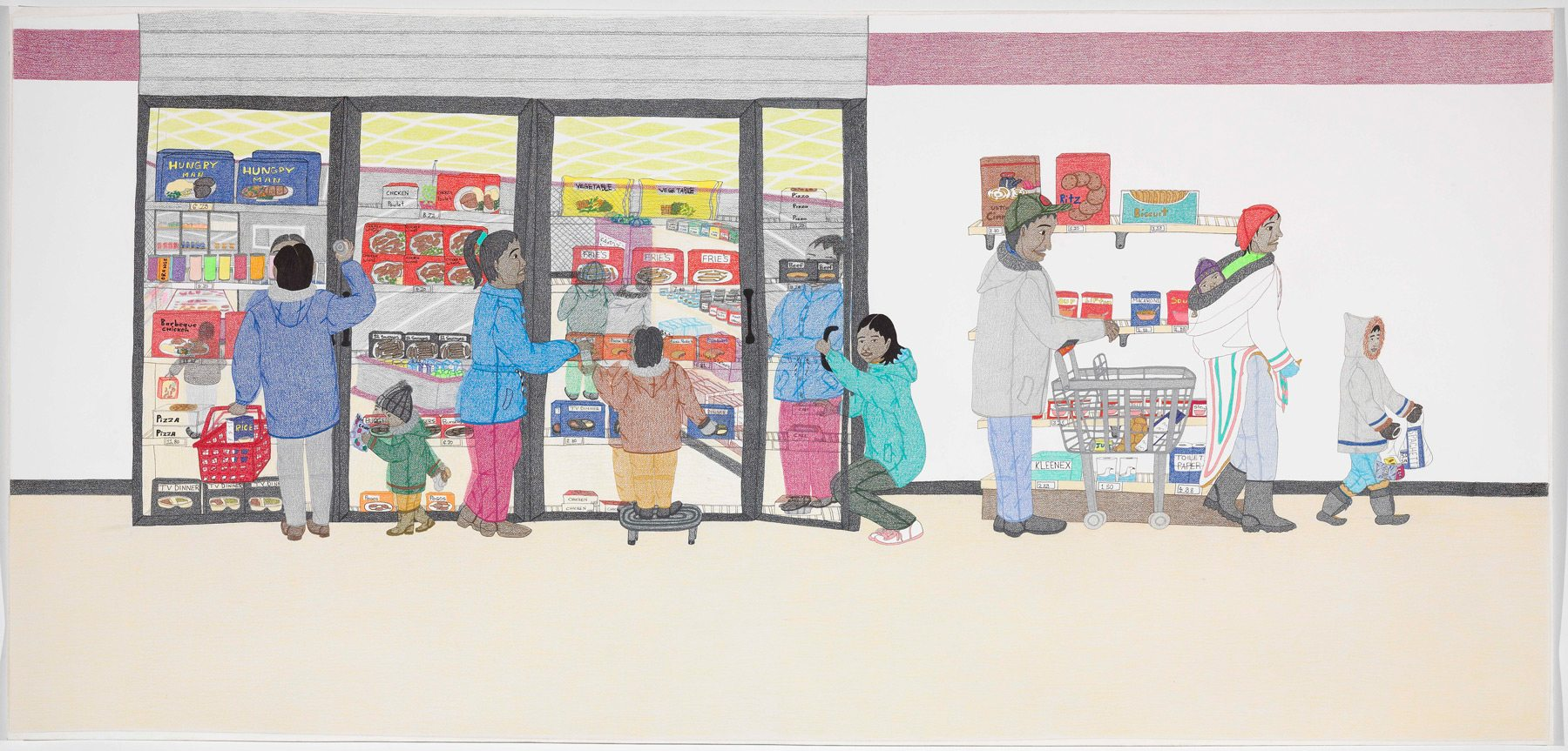 Annie Pootoogook, Cape Dorset Freezer, 2005, coloured pencil crayon, black metallic ballpoint pen and graphite on wove paper, 111.5 x 233.1 cm. National Gallery of Canada, Ottawa. Photo: NGC