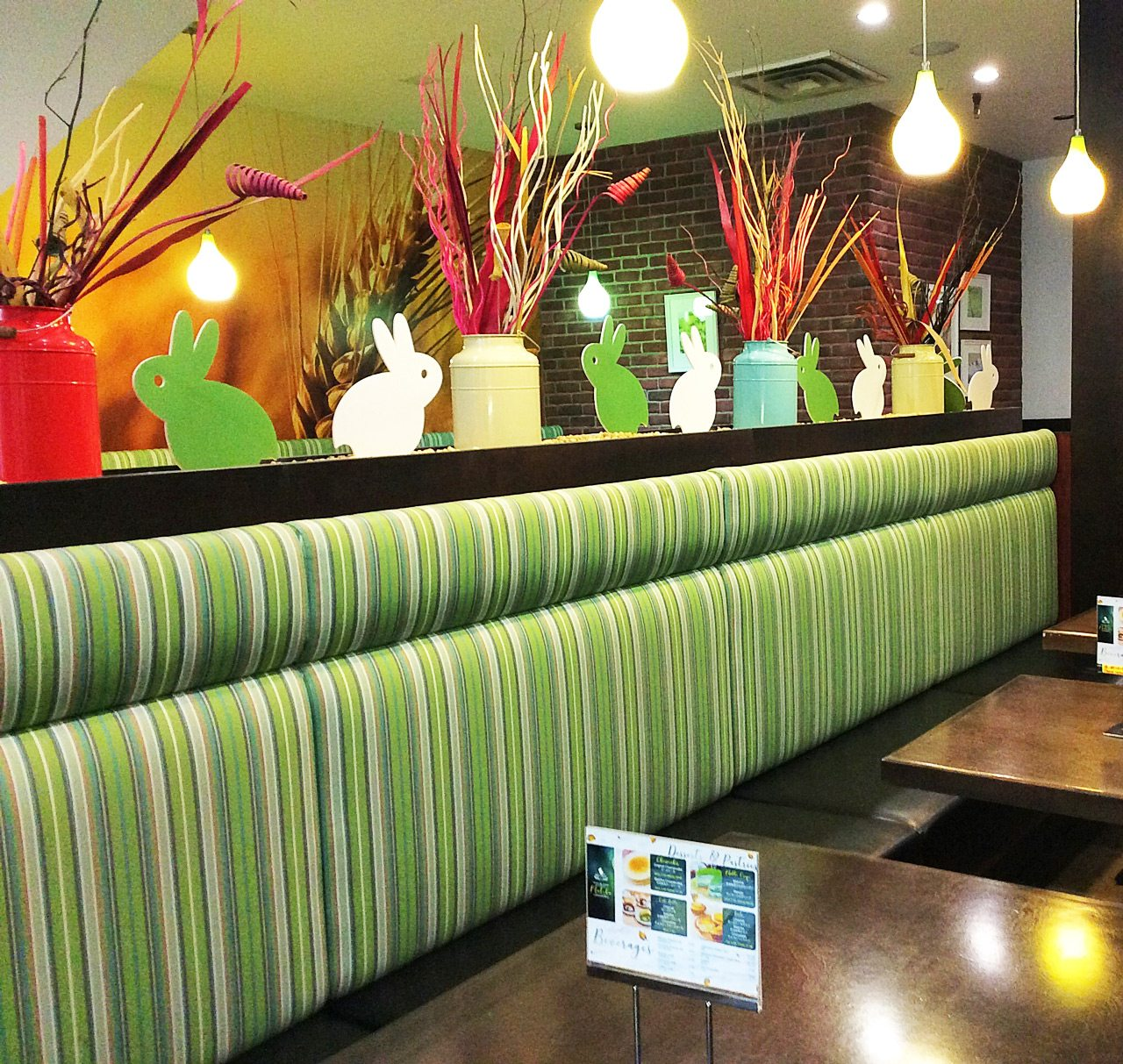 The shades of green remind guests that matcha tea is the key ingredient in many of the drinks and desserts