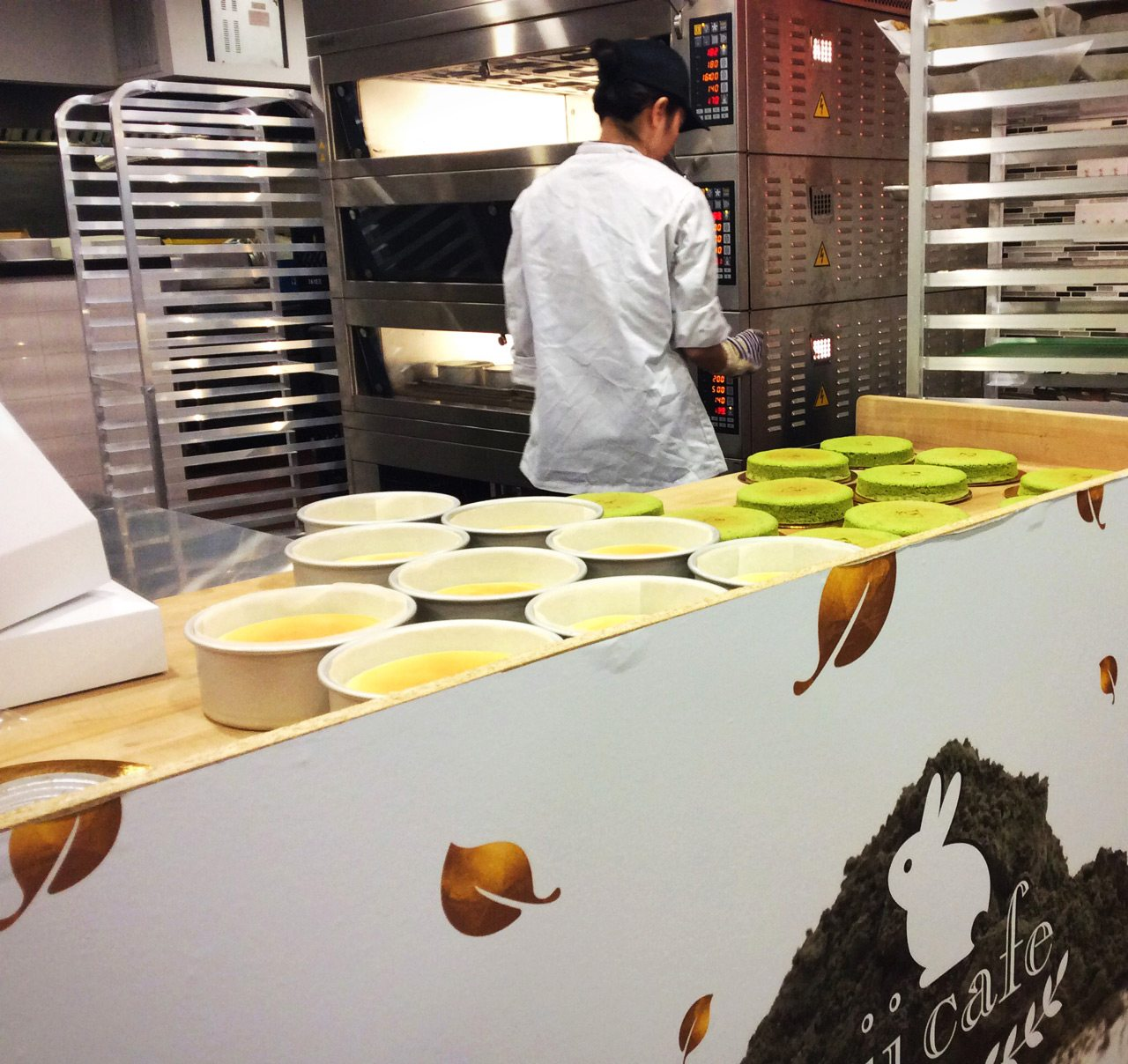 The cheesecakes, baked in a water bath, are made throughout the day