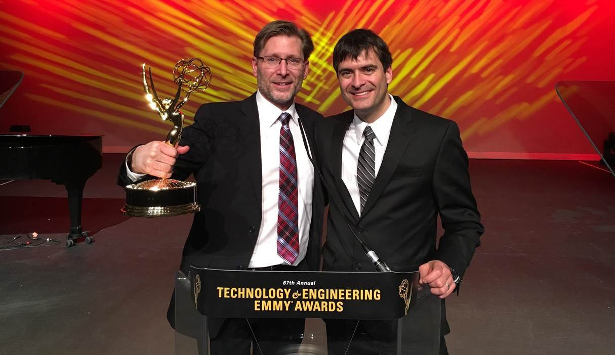Jeff Moore and David Ross of Ross Video at the Emmy Awards