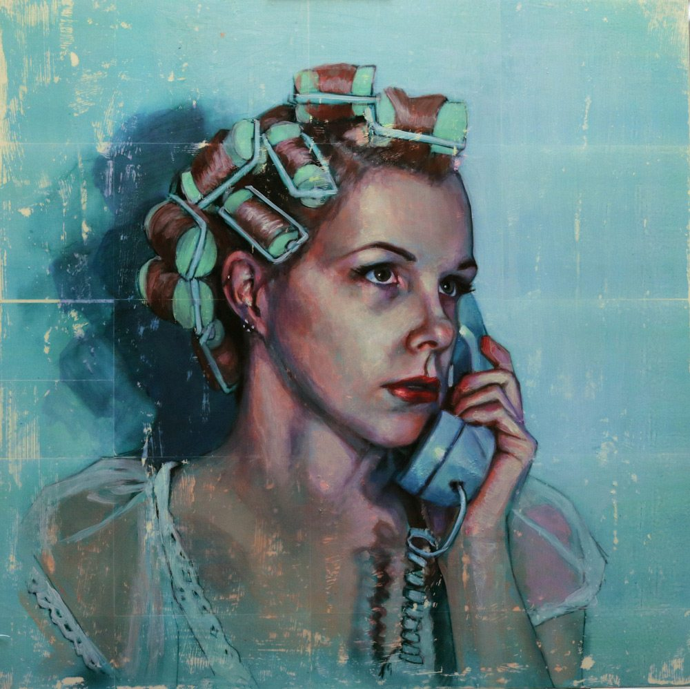 "Woman in Curlers, Kelly Grace, 36"" x 36"", acrylic painting on panel"