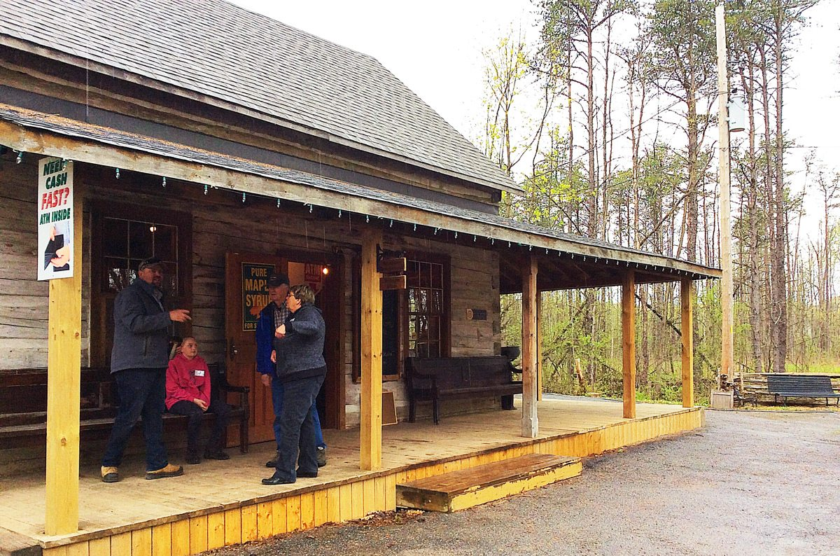 The Farm Shop at the edge of where the farmers market is set up sells maple syrup, handicrafts, and tickets to tour the larger farm property