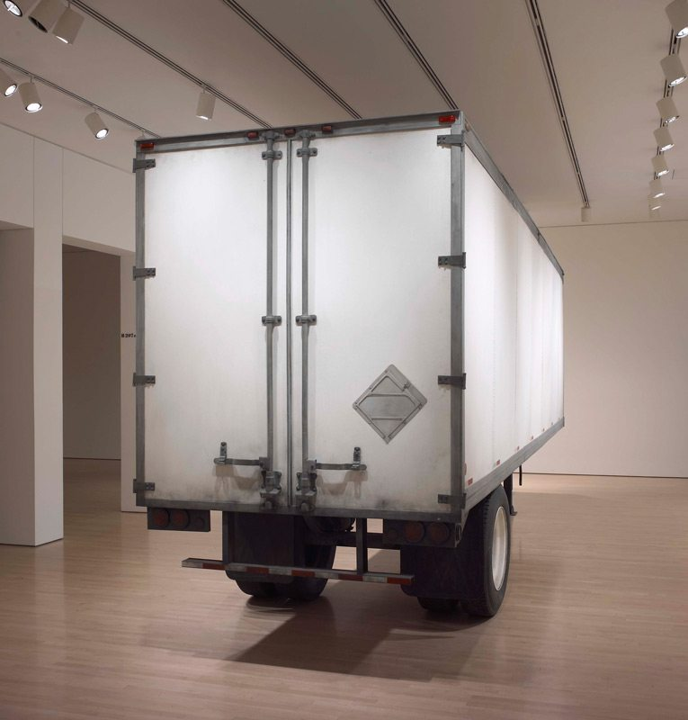 Trailer, Geoffrey Farmer, 2002 steel, fibreboard and mixed media, 3.4 x 2.2 x 9 m installed. National Gallery of Canada, Ottawa. Photo: NGC