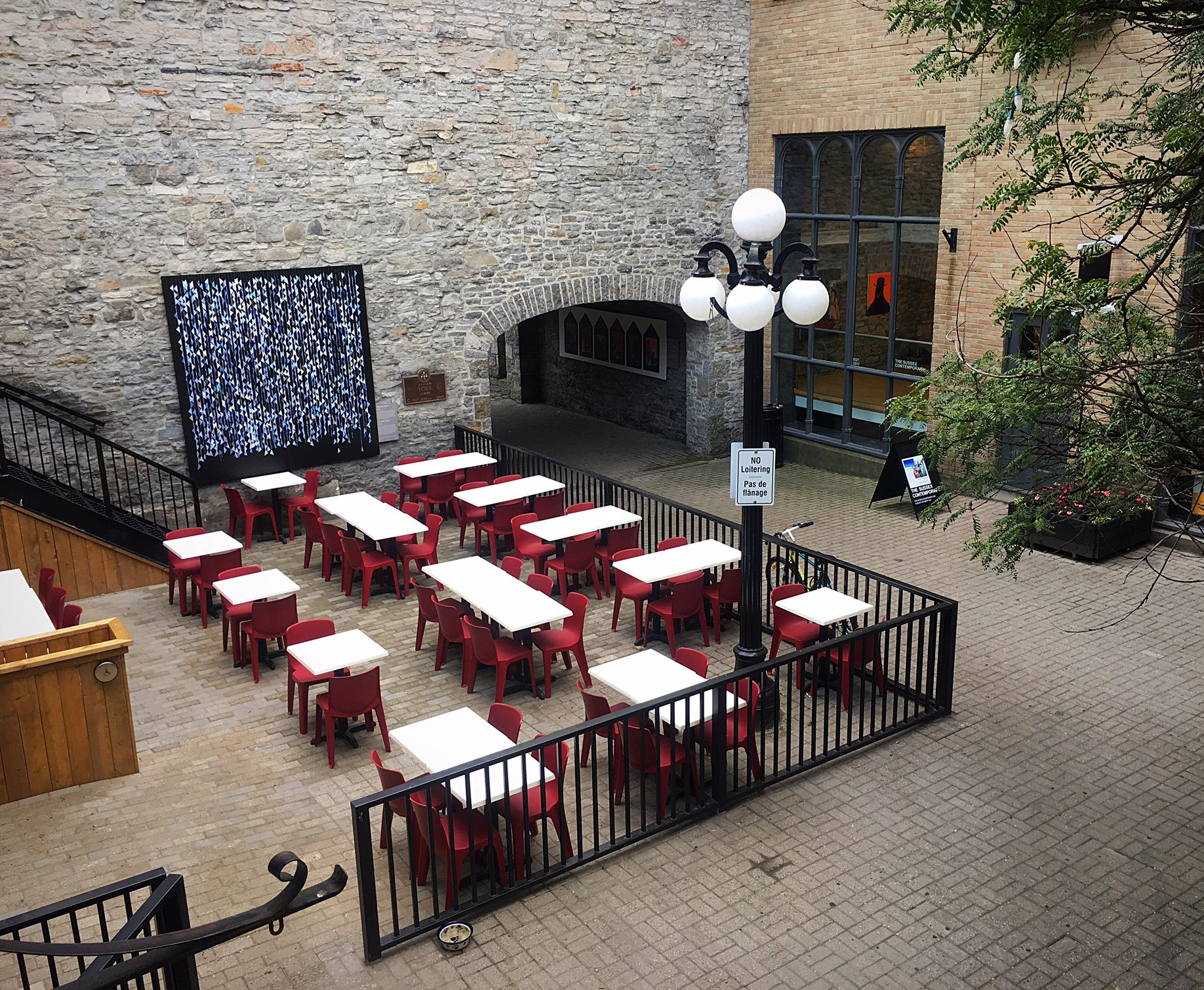 A view from the second floor of Oz over the patio space — fingers crossed for a few more weeks of patio weather